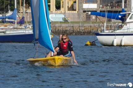 Plym Yacht Club Cadet Section - Tuesday Night Sailing - Photo Shows two of our ladies sailing a Pico in the Plym River