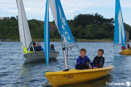 Plym Yacht Club Cadet Section - Tuesday Night Sailing - Photo Shows several of our Pico and Feva sailing dinghy in Hooe Lake