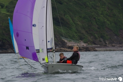 Plym Yacht Club Cadet Section - Tuesday Night Sailing - Photo Shows two of our young cadets in a RS Feva sailing dinghy under spinaker in Plymouth Sound