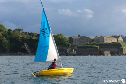 Plym Yacht Club Cadet Section - Tuesday Night Sailing - Photo Shows one of our young cadets in a laser pico sailing dinghy