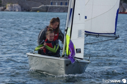 Plym Yacht Club Cadet Section - Tuesday Night Sailing - Photo Shows two of our young lady cadets in an RS Feva sailing dinghy