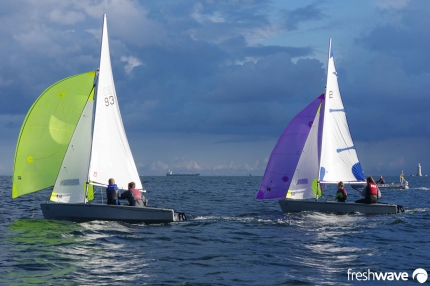 Plym Yacht Club Cadet Section - Tuesday Night Sailing - Photo Shows our cadets in the RS Fevas under spinaker in Plymouth Sound just inside the Breakwater