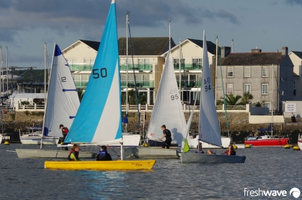 Plym Yacht Club Cadet Section - Tuesday Night Sailing - Photo Shows our cadets enjoying a sailing game in the club Fevas and Picos just off the slipway at Oreston quay