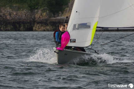 Plym Yacht Club Cadet Section - Tuesday Night Sailing - Photo Shows two of our cadets sailing a planing RS Feva in Plymouth Sound